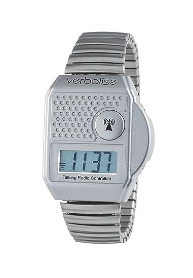Reloj de llamada digital Verbalise con botón digital, reloj de plata (habla en inglés