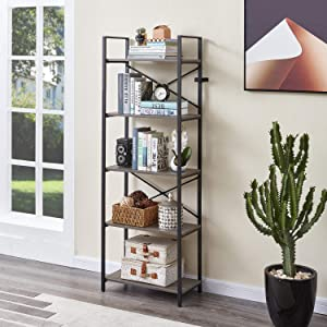 MNEETRUNG Small Bookshelf, 5-Tier Modern Wood Bookcase, Industrial Design Storage Rack Shelf with Metal Frame for Living Room, Bathroom and Office, Ash Grey