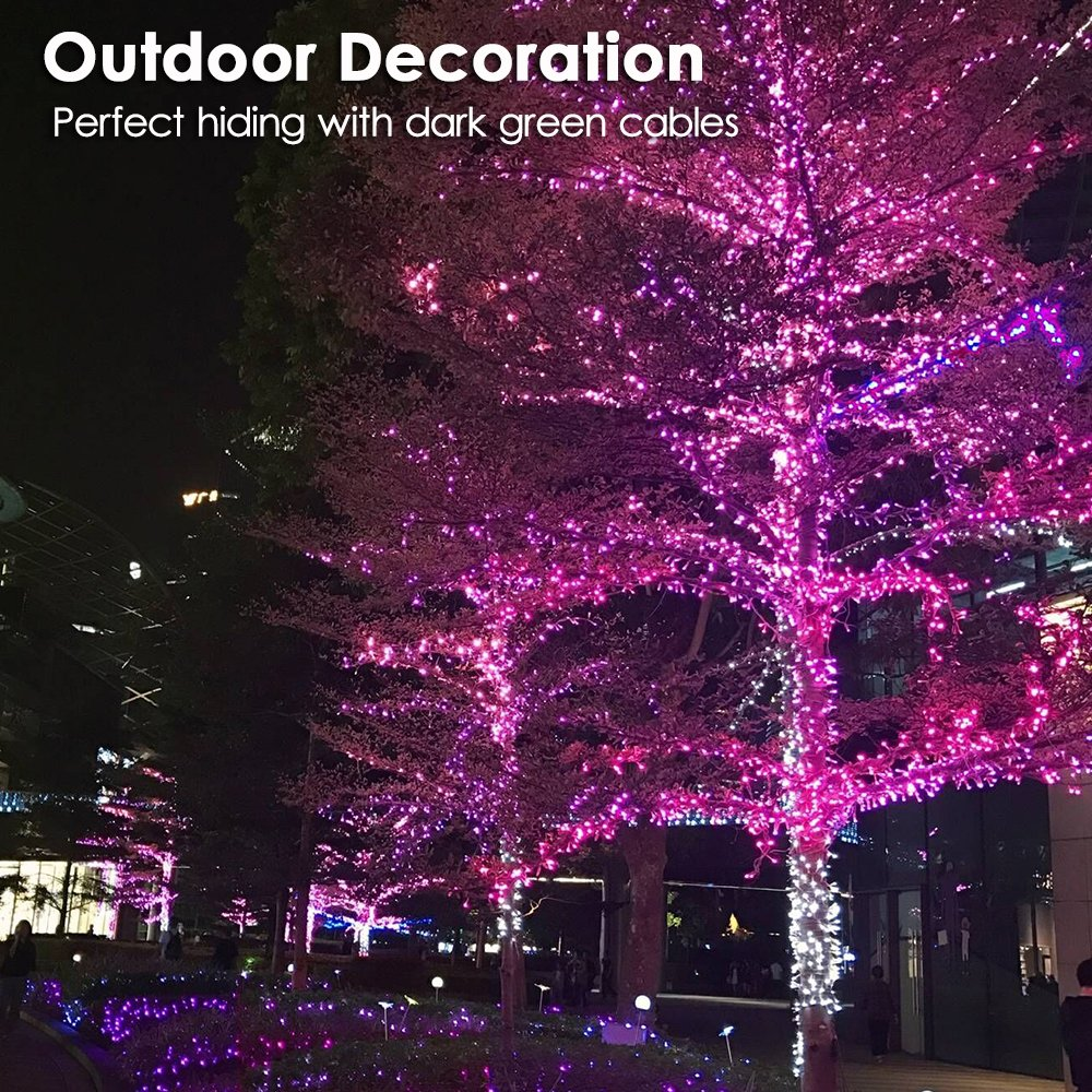 RPGT 200 LEDs 73ft Green Cable Wire Fairy String Tree Twinkle Lights 8 modes for Christmas Party Blue Home Decoration Garden Outdoor Wedding