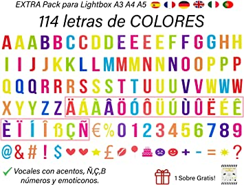 Pack de 114 Letras Decorativas en VARIOS COLORES para Cajas de Luz Led o Lightbox A4 y compatible con el Tamaño A5 y A3. Vocales Acentuadas y Emojis. (Sin Caja Luz): Amazon.es: