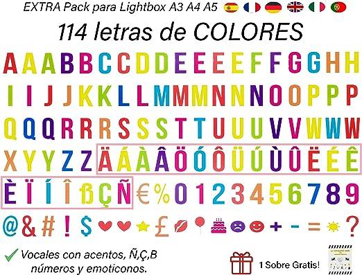 Pack de 114 Letras Decorativas en VARIOS COLORES para Cajas de Luz ...