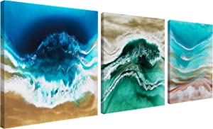 3 Piece Abstract Turquoise Canvas Art | Teal Blue Seascape Coastal Ocean Pictures Ready to Hang Artwork Beach Sea Water Waves Modern Cool Print Paintings for Home Living Room Bedroom Kitchen Bathroom Office Decorations Hooks
