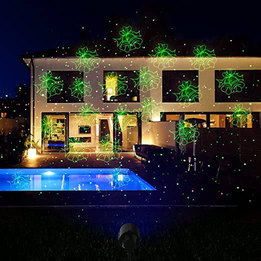 amazoncom christmas projector lights laser lights laser show star light shower rf wireless remote red green 8 patterns blue led waterproof for xmas - Christmas Lawn Lights