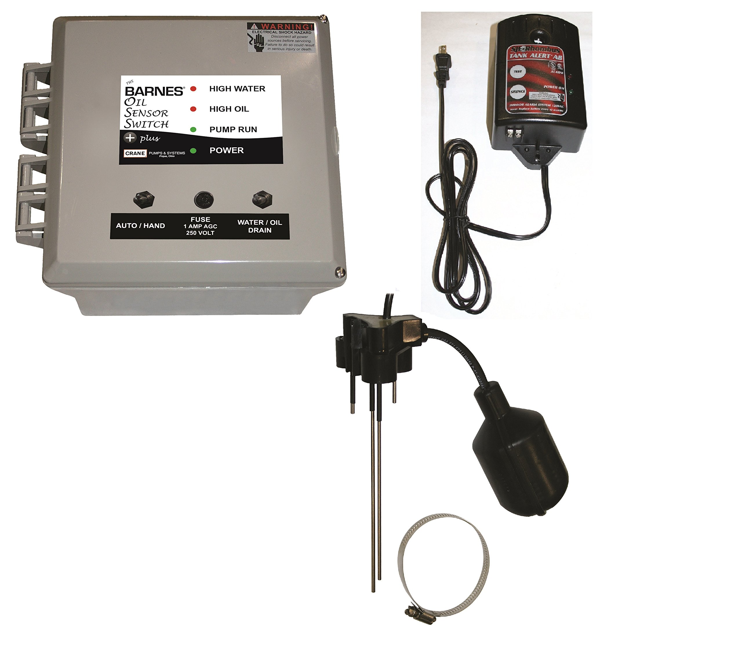 Barnes 137040 BOSS PLUS Series Oil Sensor Switch with High Water Alarm, 120V, 1 Phase, 15 Amp, NEMA 1 Enclosure