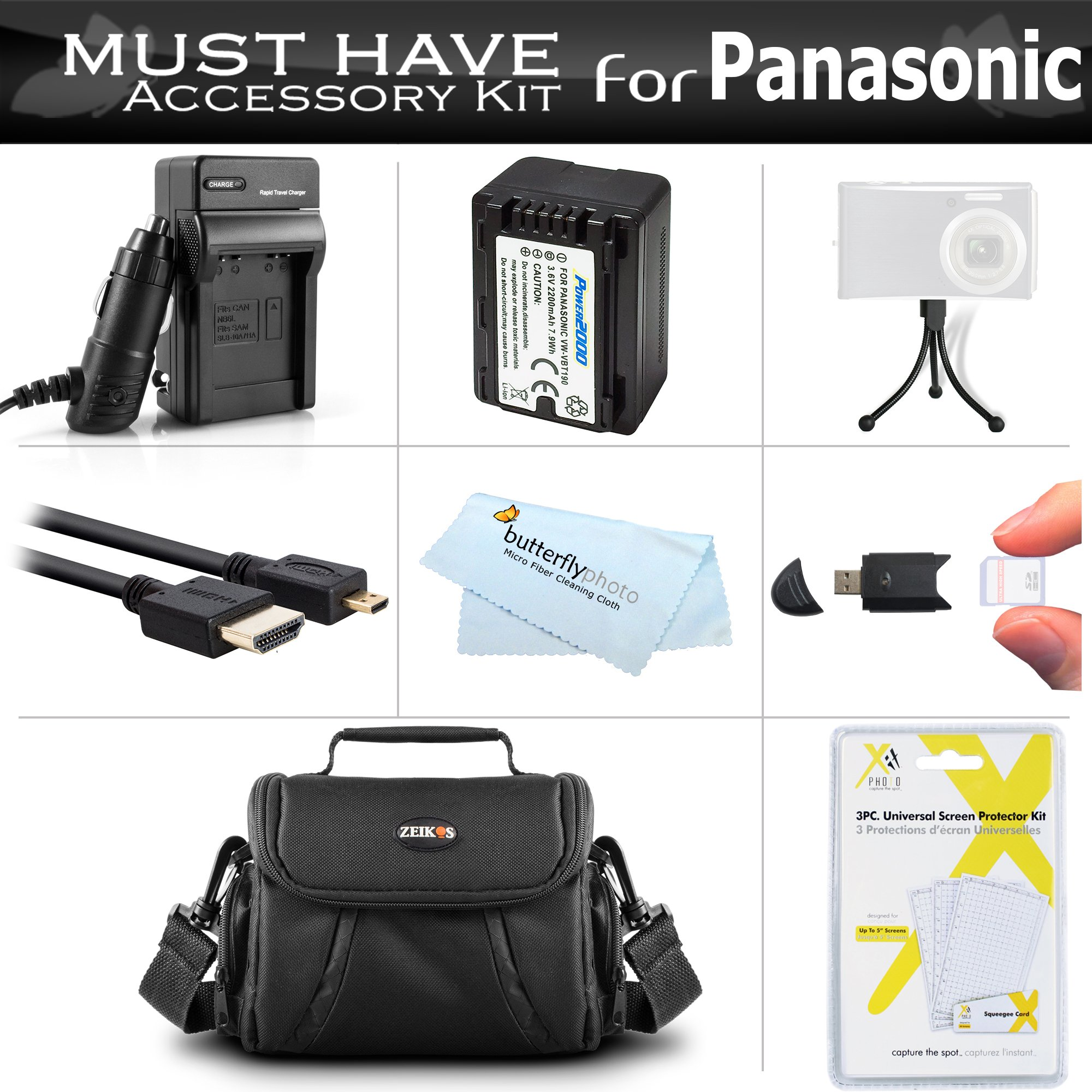 Must Have Accessory Kit For Panasonic HC-V180K, HC-WXF991K, HC-W580K, HC-V380K, HC-VX981K, HC-VX870K, HC-V770K, HC-WX970K HD Camcorder Includes Replacement VW-VBT190 Battery + Charger + Case + More