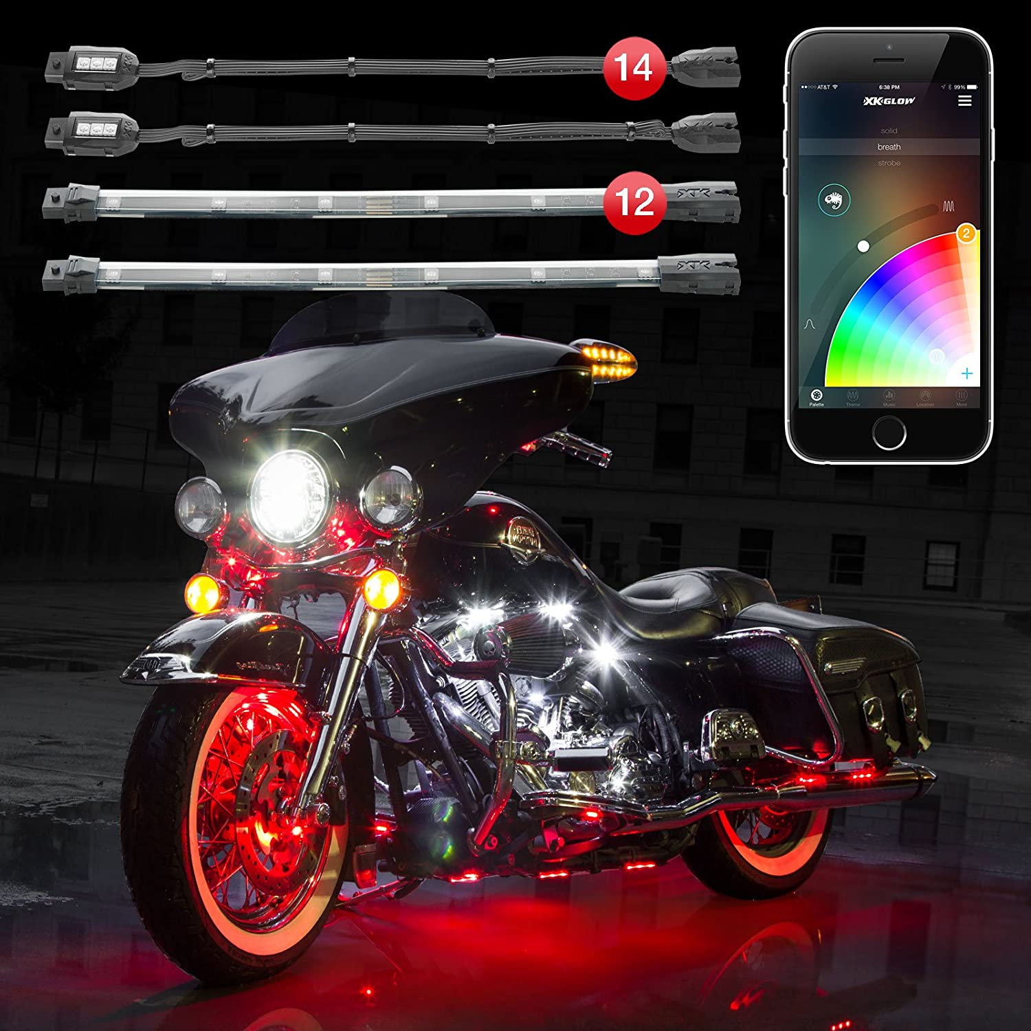 14 Pod 12 Strip XKchrome Motorcycle LED Accent Light Kit