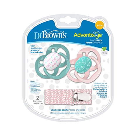 Dr. Browns Advantage Pacifier with Pacifier Clip, 6-12M, Pink, 2 Count