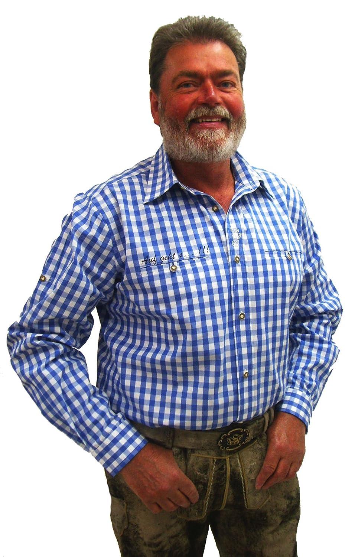 Herren Trachtenhemd blau weiß kariert Slim Fit Herrenhemd Langarm Edward