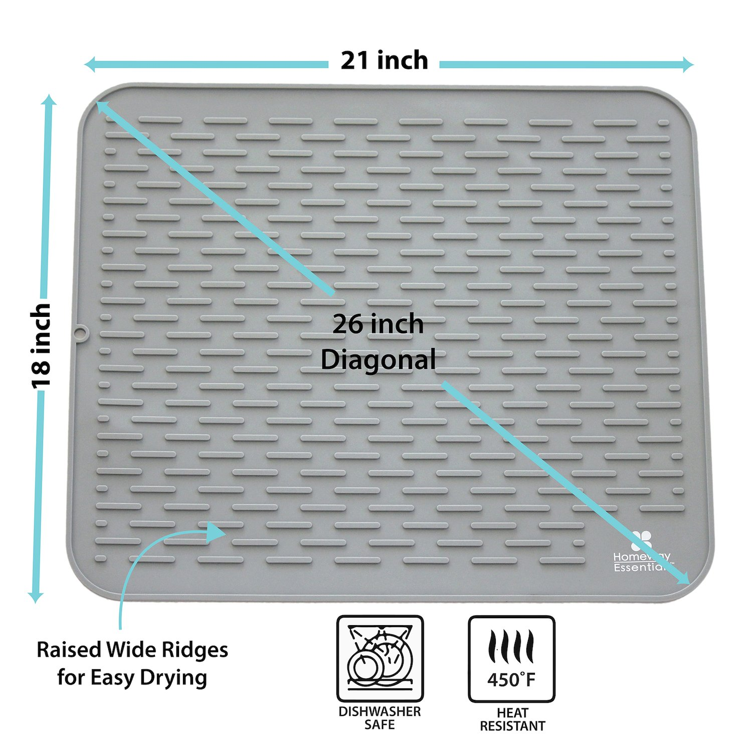 Silicone Dish Drying Mat - XXL 21 x 18 - Extra Large Dish Drying Mat, Counter top Mat, Dish Draining Mat, Sink Mat, Large Silicone Trivet by Homeway Essentials (Image #3)