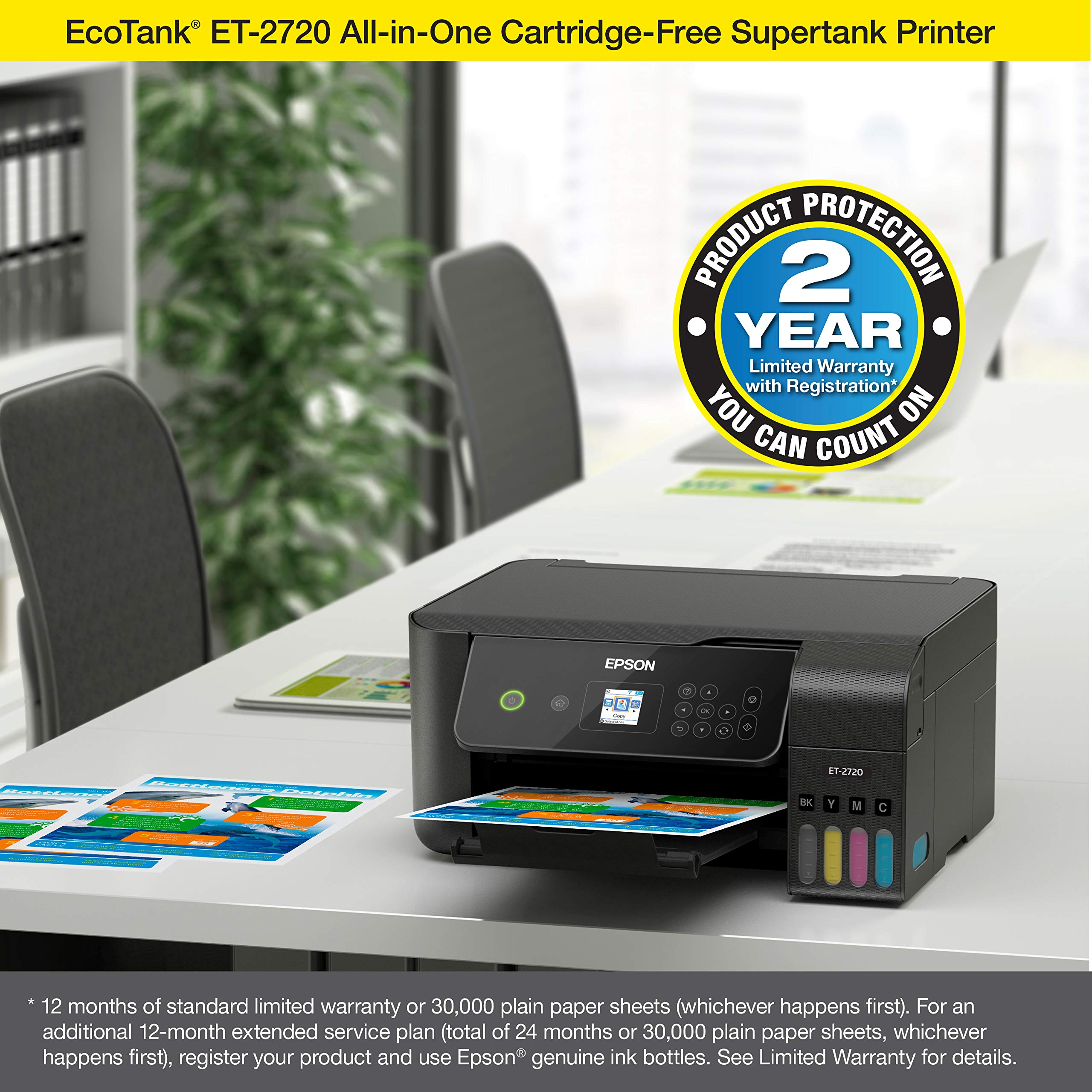 Epson EcoTank ET-2720 Wireless Color All-in-One Supertank Printer with Scanner and Copier - Black by Epson (Image #6)