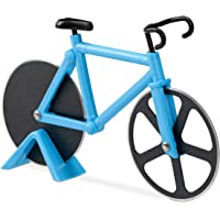 Relaxdays 10022555_45 Tagliapizza Bicicletta Divertente Rotella per Pizza a Forma di Bici Acciaio Inox Cutter da Cucina Tagliapasta Blu