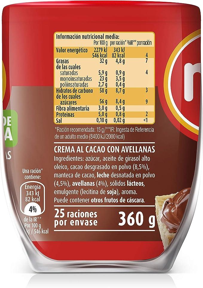 Nocilla Original Crema de Cacao, Sin Aceite de Palma, 360g ...