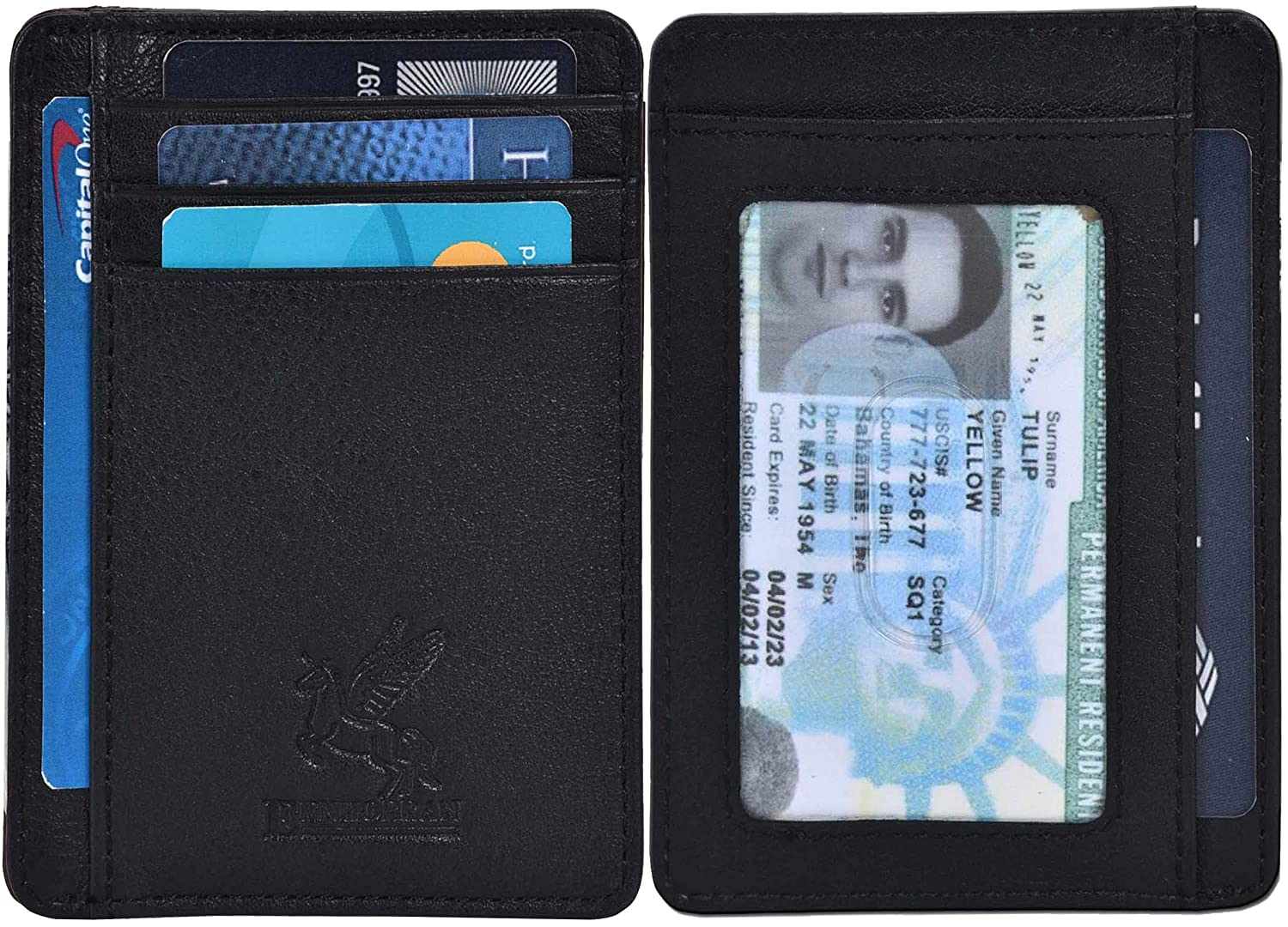 ce6f100d6f9 Amazon.com  Slim Wallet RFID Front Pocket Wallet Minimalist Secure Thin  Credit Card Holder with ID Slot  Clothing