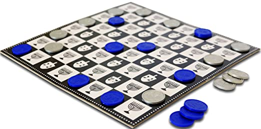 Chanukah Checkers Board Game The Classic Game with A Chanuka Twist Hanukkah Games