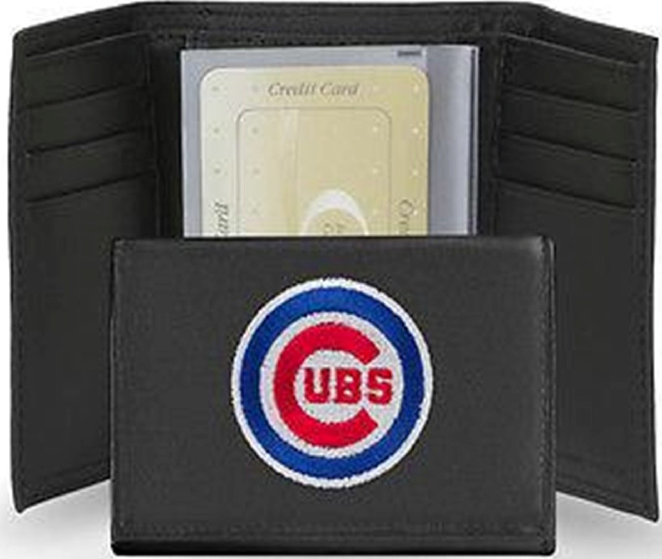 Chicago Cubs Tri Fold Wallet Leather Embroidered Bullseye Logo 13160