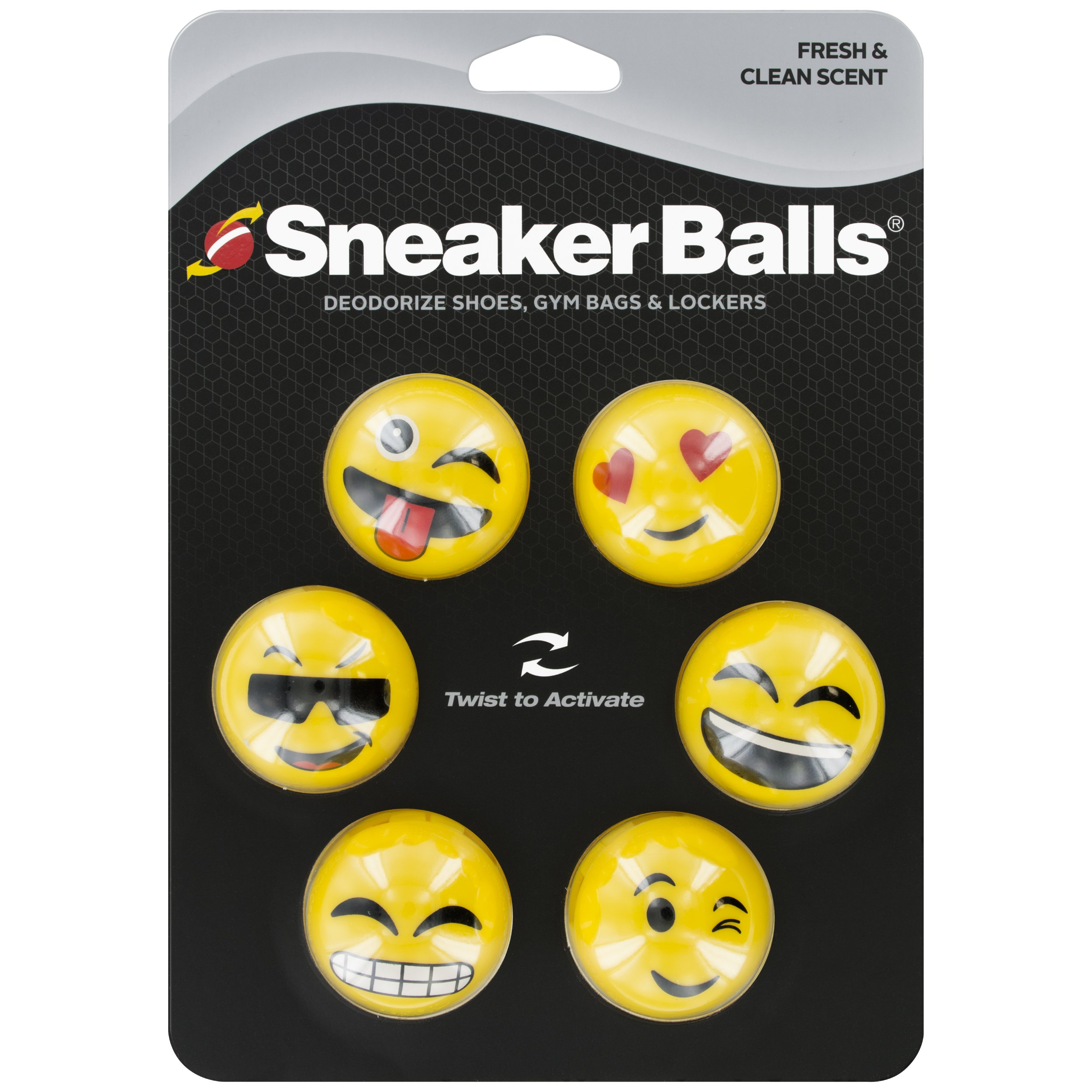 Sof Sole Sneaker Balls Shoe Gym Bag and Locker Deodorizer, Emoji, 3-Pair