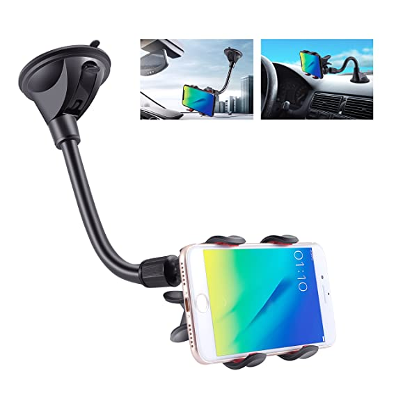 af4d9ac841b7bd IPOW Upgraded X-Shaped Double Clamp Universal Long Shockproof Arm Phone Car  Mount Windshield/
