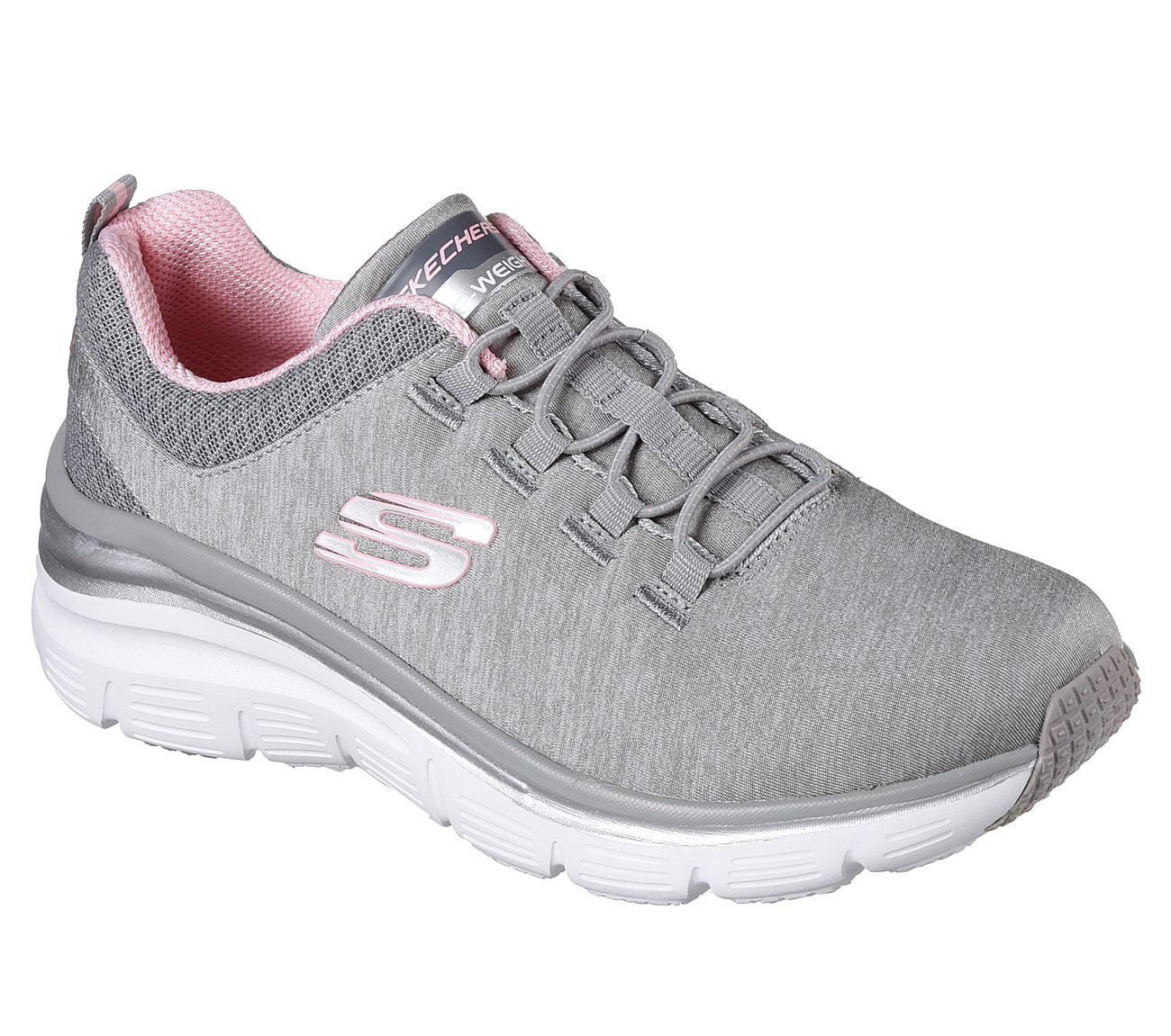Skechers Fashion Fit Up A Level Womens Slip On Sneakers Gray/Light Pink 10