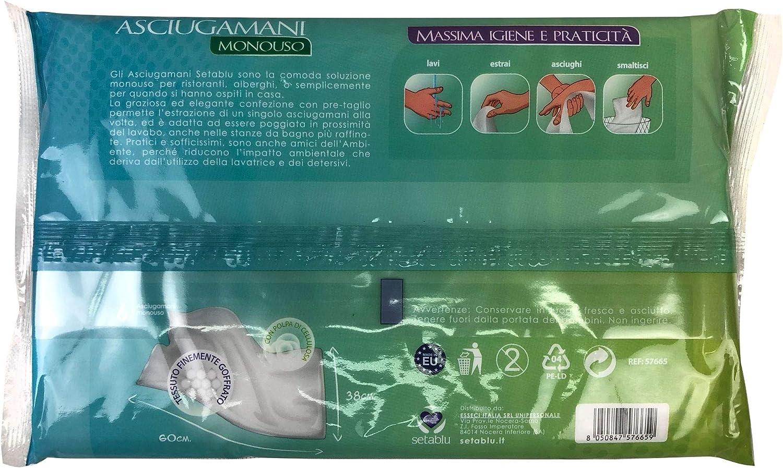 c media trade sl Asciugamano 576659 monouso 60x38cm SETABLU 6X in Tessuto Airlaid Ecologico