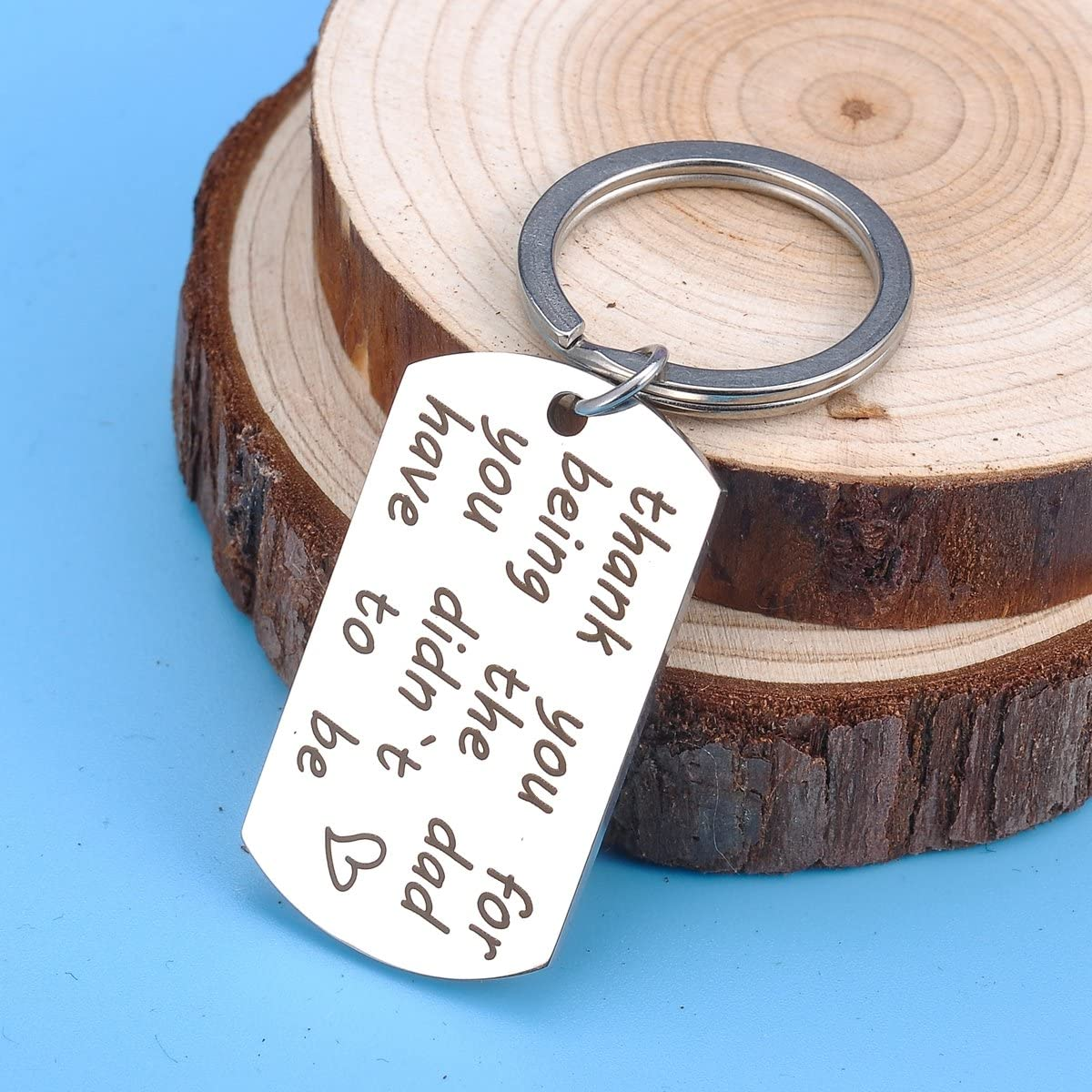 HOUSWEETY Charm Keychain Necklace Stainless Steel Plain Polished Finish