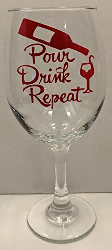 Image Unavailable & Amazon.com: Pour Drink Repeat Wine Glass | Wine Lover Gift | Wine ...
