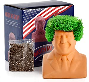 """na Donald Trump Chia Decorative Pottery Planter (4.5"""" x 4.5"""" x 3.5"""" Small) - Chia Seeds Included - Plant and Grow Donald Trump's Hair - Funny Novelty Gift"""
