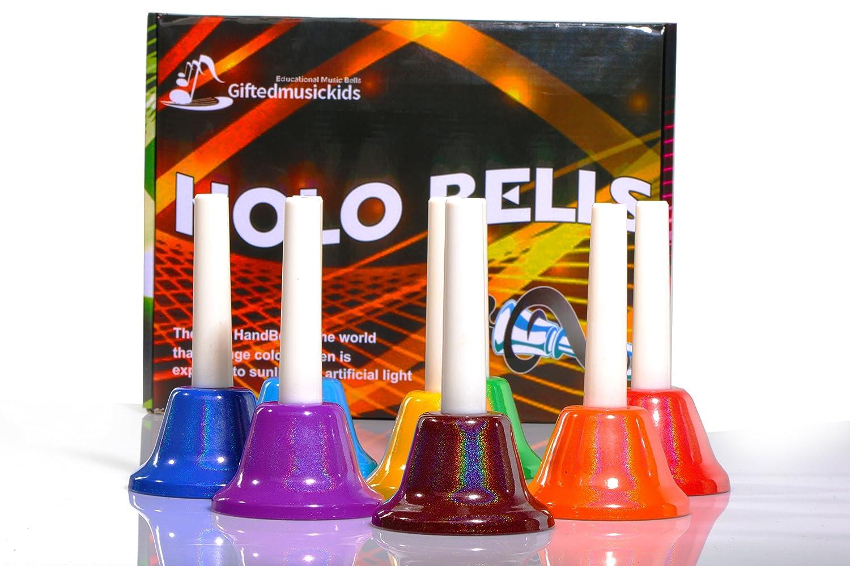GiftedMusicKids 13 Holographic Chromatic C Hand Bell Set Diatonic Metal Bells for Children Faxadella