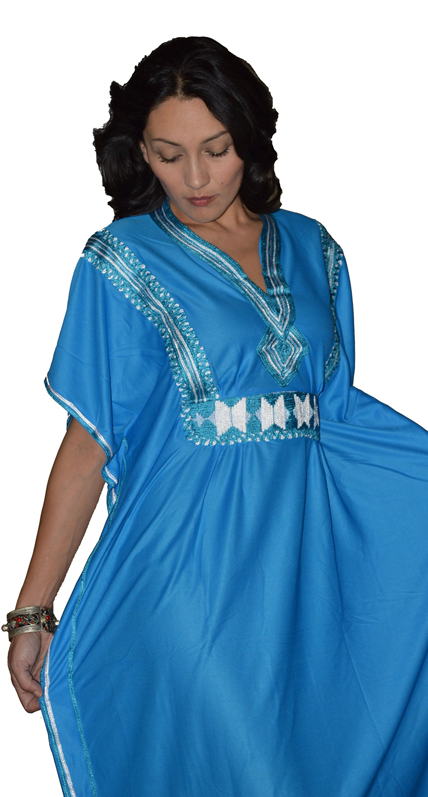 Moroccan Caftans Women Breathable Handmade Butterfly Style Embroidery Ethnic Design Blue by Moroccan Caftans (Image #2)