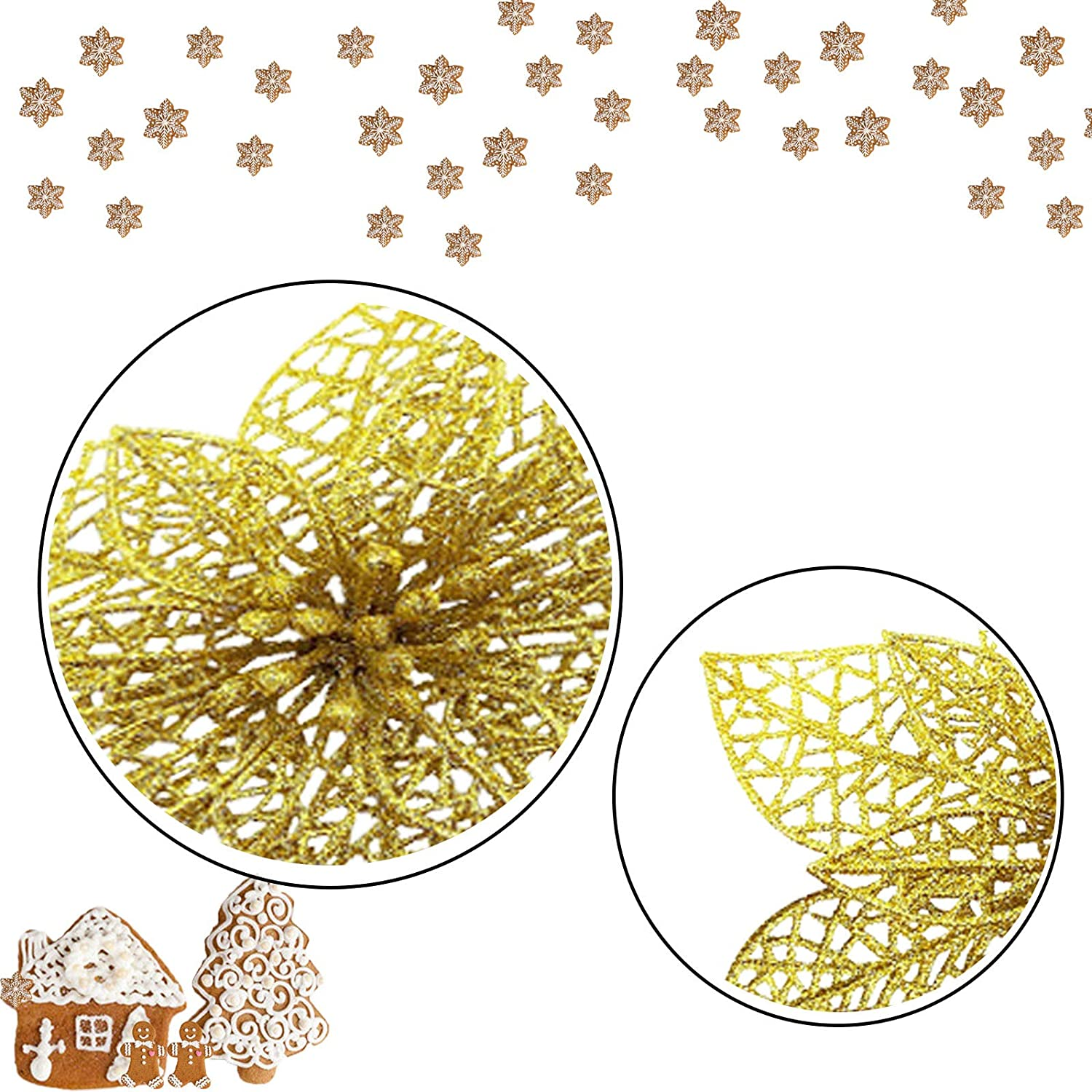 Flowers for Festival Decoration Glitter Christmas Tree Ornaments for Xmas Wedding Decorations Reusable Zsroot Christmas Tree Topper Star Gold