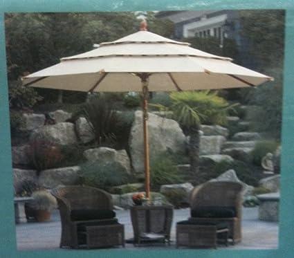 Sunbrella Wooden Market Umbrella 11u0027 Tilt Patio Tan New