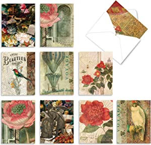 10 Assorted 'Secret Garden' Thank You Cards with Envelopes 4 x 5.12 inch, Grateful Greeting Cards Featuring Vintage Images of Birds, Flowers and Garden Decor, Thankful Stationery Set M6727TYG