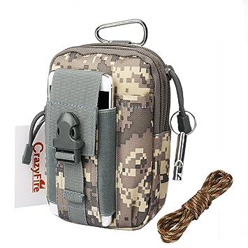 Bolsa de cinturón táctico, CrazyFire riñonera camuflaje, bolsillo cinturón táctico con silbato supervivencia y cuerda, almacenamiento Molle bolsa ...