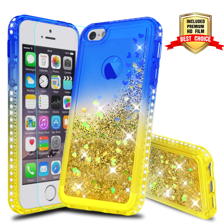 san francisco e437c 347fe iPhone 5S Case, iPhone SE Girly Cases with HD Screen Protector, Atump Fun  Glitter Liquid Sparkle Diamond Cute TPU Silicone Protective Phone Cover  Case ...