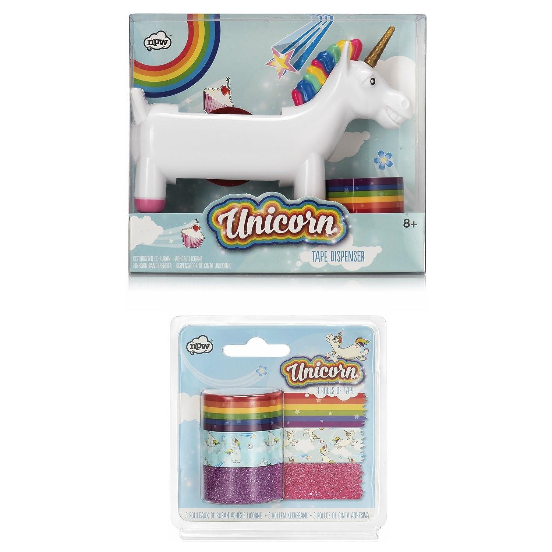 npw-usa Unicorn dispensador de cinta, con extra de arco iris rollos de cinta, cinta de Unicorn, y con purpurina cinta.: Amazon.es: Oficina y papelería