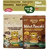 Slurrp Farm Instant Breakfast Millet Pancake Mix Banana | Choco-Chip, Supergrains and Chocolate | Natural and Healthy food 150 g (Pack of 2)