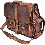 TUZECH Rustic Big Pocket Pure Leather Bag Office Satchel Bag Soft Genuine Leather Adjustable Shoulder Strap(18 Inches)