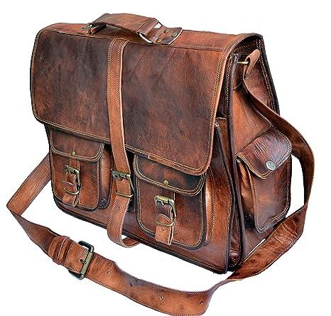 1edff393eb2b TUZECH Rustic Big Pocket Pure Leather Bag Office Satchel Bag - Fits Laptop  Upto (13 Inches)