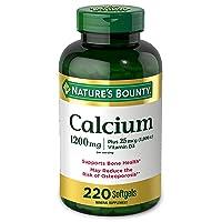Calcium & Vitamin D by Nature's Bounty, Immune Support & Bone Health, 1200mg Calcium & 1000iu D3, 220 Softgels