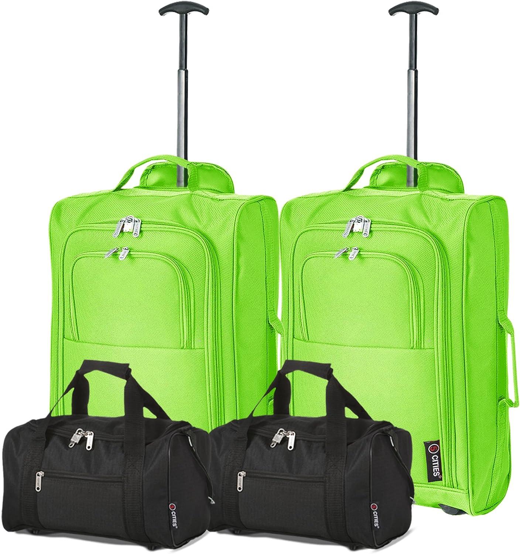 Ryanair Set de 4-35x20x20 Bolsa de Mano y 55x40x20 2ª Maleta Trolley (Verde/Negro)