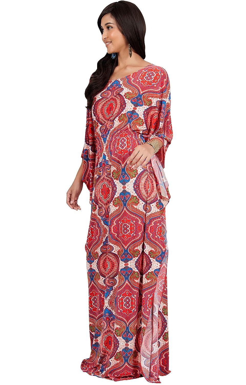 2368a91eb2 KOH KOH Womens Long Kaftan Boho Print Jersey Flowy Casual Abaya Gown Maxi  Dress at Amazon Women s Clothing store