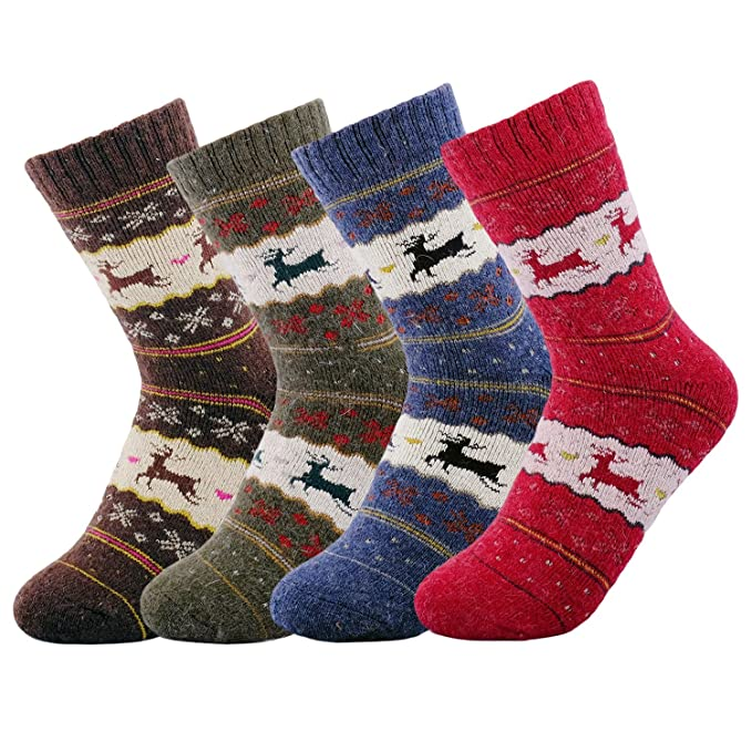 e1252da21ffe4 JOYCA & Co. 3-5 Pairs Womens Multicolor Fashion Warm Wool Cotton Thick  Winter Crew Socks