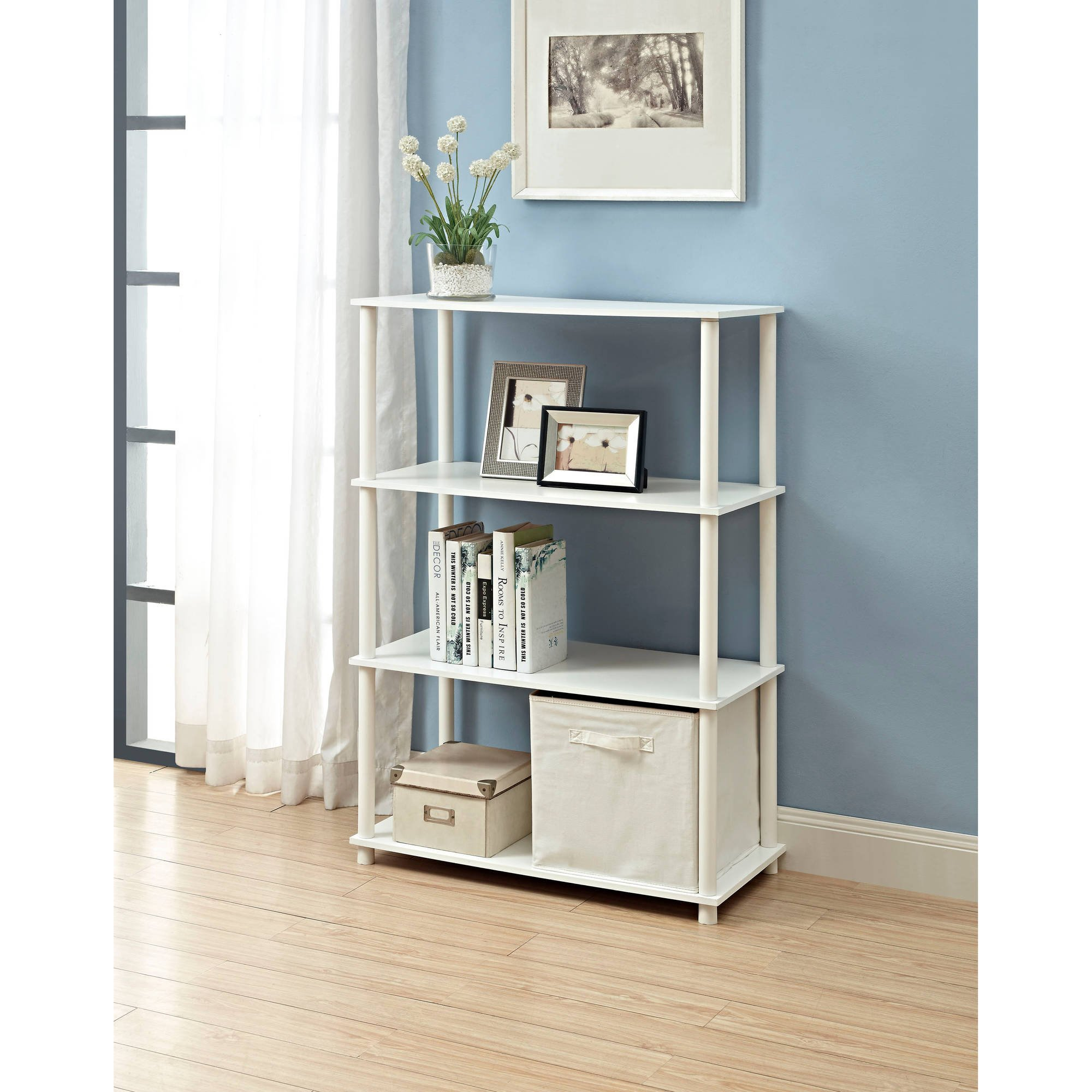 6-Cube Sturdy Storage Shelf, Strong Wood Composite Materials, No Tools Required for Assembly, Great for Home or Office, Can Be Stacked, Room Saving, Modern Design + Expert Guide (White)