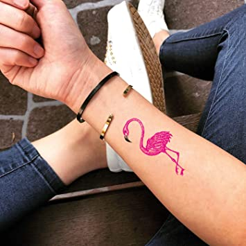 Tatuaje Temporal de Flamenco rosa (2 Piezas) - www.ohmytat.com ...