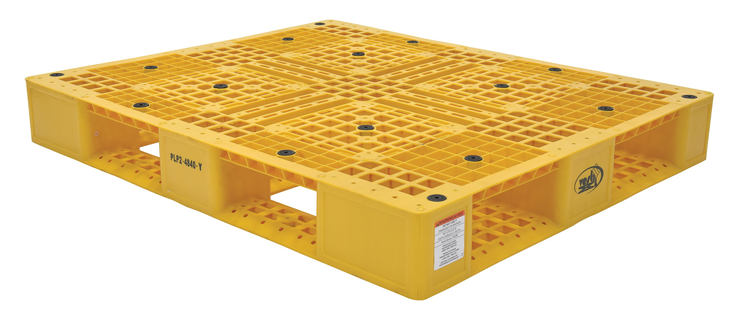 Vestil PLP2-4840-YELLOW Yellow Polyethylene Pallet with 4 Way Entry, 6600 lbs Capacity, 39.5'' Length, 47.375'' Width, 6'' Height by Vestil