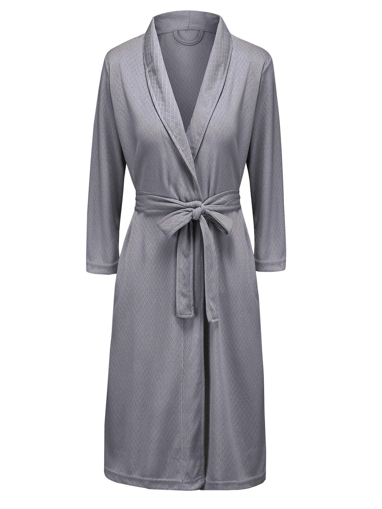 VI&VI Womens Soft Kimono Bathrobe Dressing Gown Lightweight Knee-Length Hotel Spa Robe (S/M, Gray)