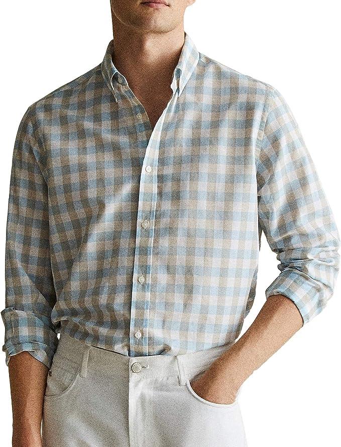 MASSIMO DUTTI 0144/108 - Camisa de Cuadros de algodón y Lino ...