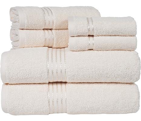 Marfil de color 6 piezas Juego de toallas de algodón egipcio