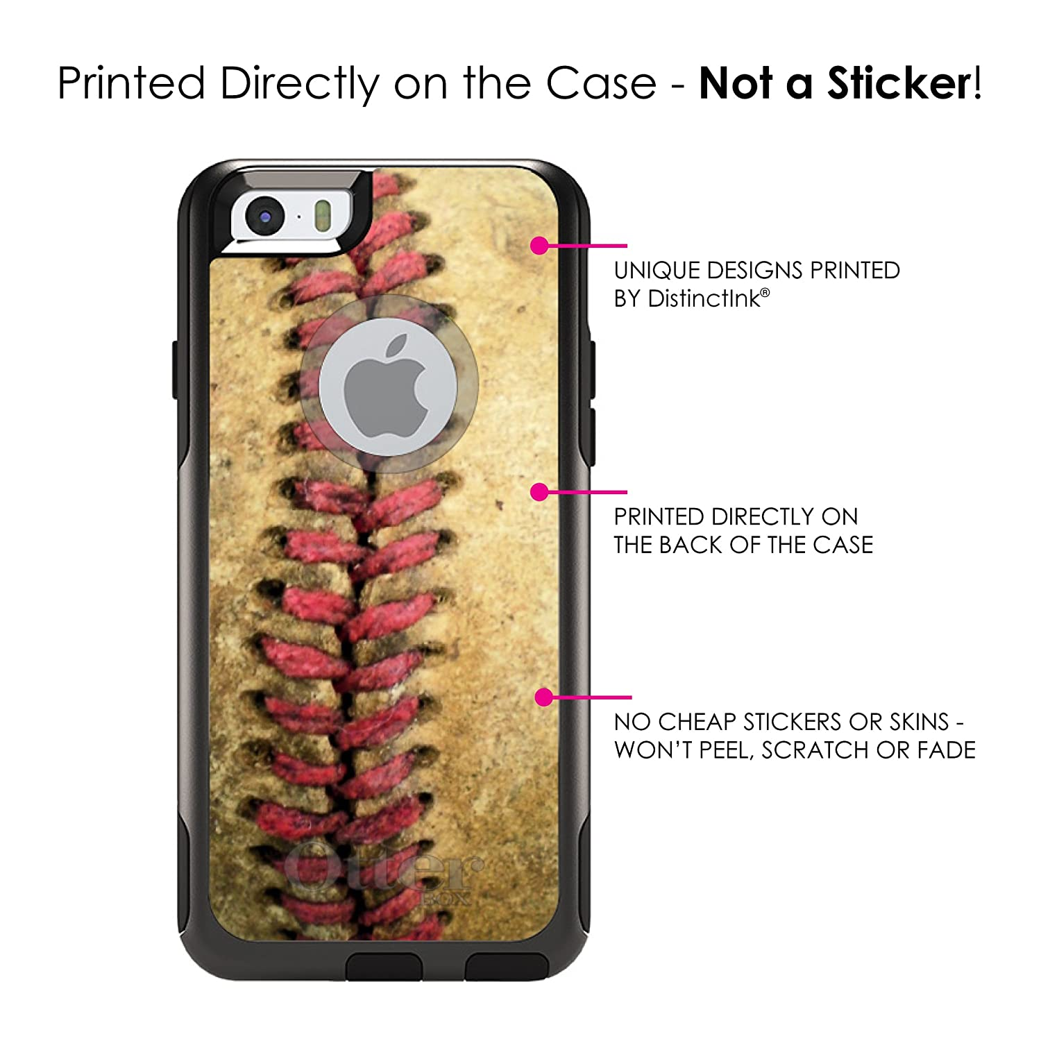 68fc45a5613 Amazon.com: DistinctInk Case for iPhone 6 Plus / 6S Plus - OtterBox Commuter  Black Custom Case - Old Baseball Stitch - Show Your Love of Baseball: Cell  ...