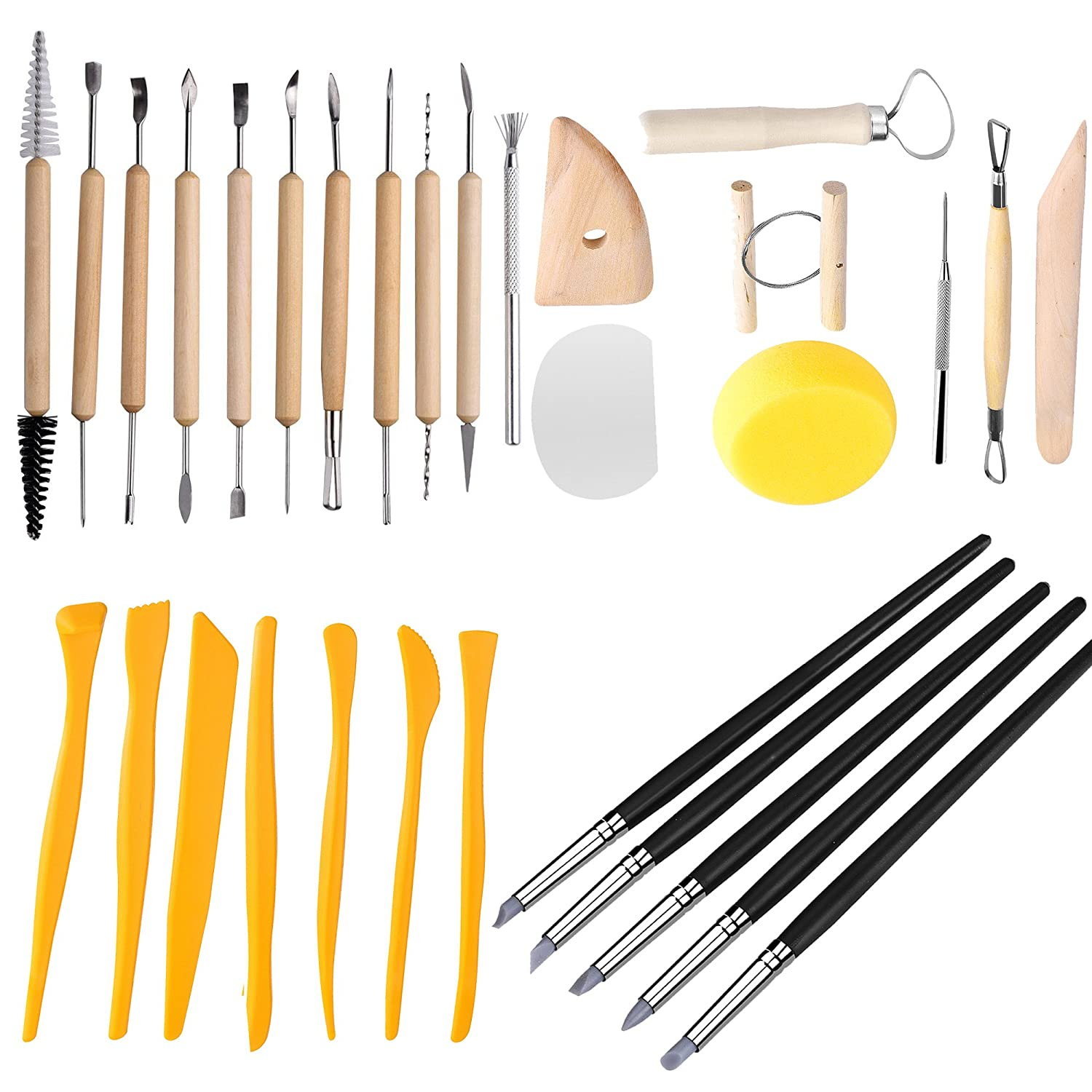 Clay Sculpting Tools - Pottery Sculpture Modeling/Carving Tool 31 PCS Set for Ceramics Beginners and Professional Art Crafts Newever 4336842043