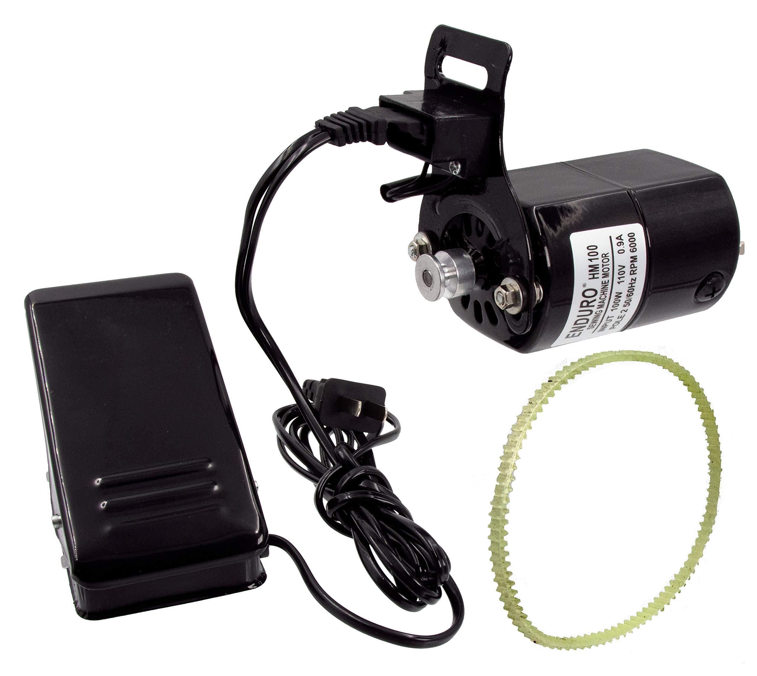 Enduro Sewing Machine Motor Kit w/Foot Pedal & Belt - 110 Volt, 100 Watt for Home Sewing Machines by Enduro